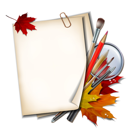 Welcome back to school background. School items and elements. Paper sheet with autumn leaves, pens, pencils, brushes and magnifying glass on white background.