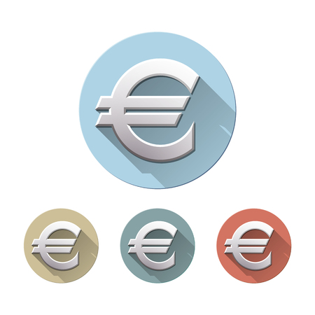 Set of Euro currency symbol on colored circle flat icons, isolated on white. European Sign monetary unit. Financial, business and investment concept. Vector illustration