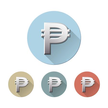 Insieme del simbolo di valuta del peso filippino sulle icone piane del cerchio colorato, isolate su bianco. Firma unità monetaria. Concetto finanziario, aziendale e di investimento. Illustrazione vettoriale