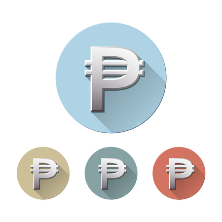Set of Philippine peso currency symbol on colored circle flat icons, isolated on white. Sign monetary unit. Financial, business and investment concept. Vector illustration