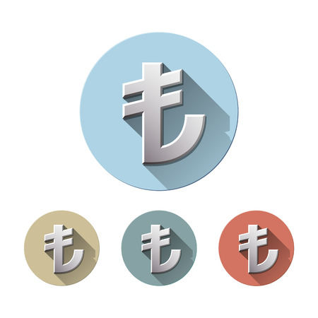 Set of Turkish Lira currency symbol on colored circle flat icons, isolated on white. TL Sign monetary unit. Financial, business and investment concept. Vector illustration