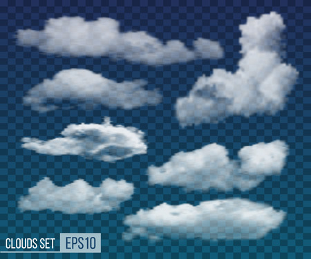 Collection of realistic transparent night clouds. Vector illustration EPS10 Vetores
