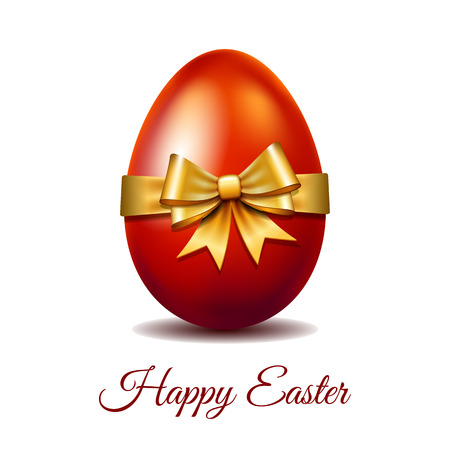 Easter card with bright red Easter egg tied of gold ribbon with a big bow and text Happy easter. Elegant style decor on christian resurrection symbol. Vector illustration isolated on white background