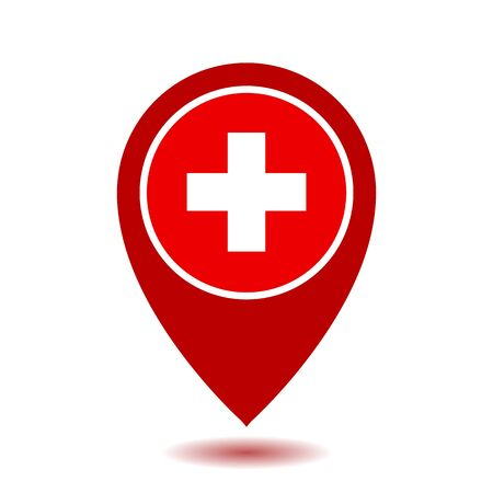 Map Pointer Icon With Cross, First Aid Sign.