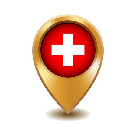 Golden metal map pointer with Switzerland flag. Vector illustration isolated on white background