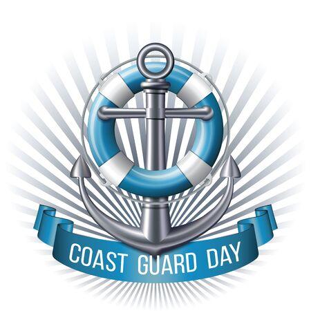Coast guard day greeting card. Nautical emblem