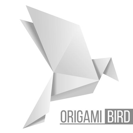 Origami paper bird. Flying pigeon isolated on white Ilustracja