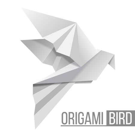Origami paper bird. Flying pigeon isolated on white