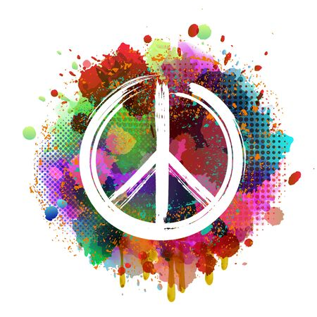 White Peace Hippie Symbol on colorful background