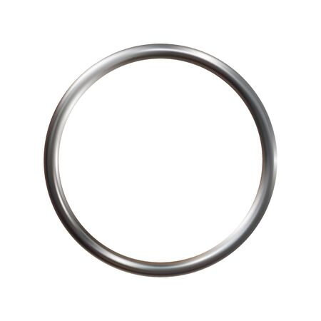 Silver metal ring isolated on white background. Ilustrace