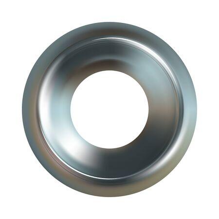 Arandela de acero. Icono de vector de arandela de acero realista
