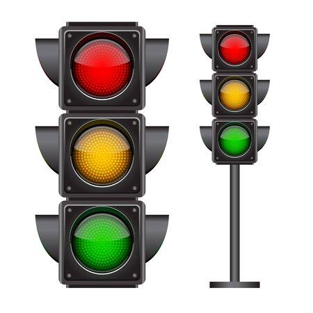 Semafori accesi con tutti e tre i colori. Illustrazione vettoriale fotorealistica isolata su sfondo bianco