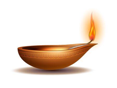 Diya bruciante su Happy Diwali Holiday isolato su sfondo bianco per il festival della luce dell'India. Elementi decorativi per le feste Lampada a olio Deepavali. Vettoriali