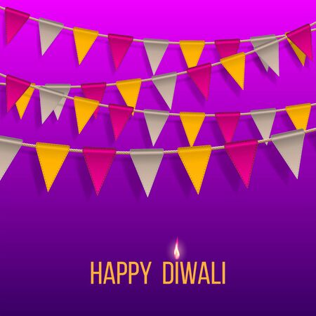 Congratulation banner with hanging flags on Happy Diwali Holiday on for light festival of India. Happy Deepavali day template banner. Carnival flags, holiday decoration elements.