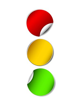 Paper traffic lights. Red, yellow and green stickers