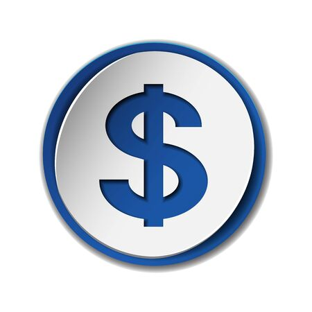 Dollar currency symbol on colored circle flat icon
