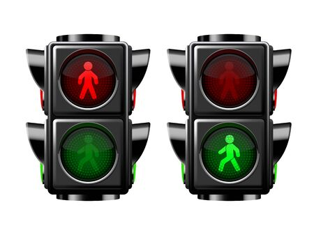 Pedestrian traffic lights red and green isolated on white