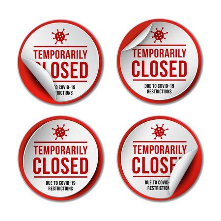 Temporarily closed sign of coronavirus news. Set of Information warning sign about quarantine  イラスト・ベクター素材