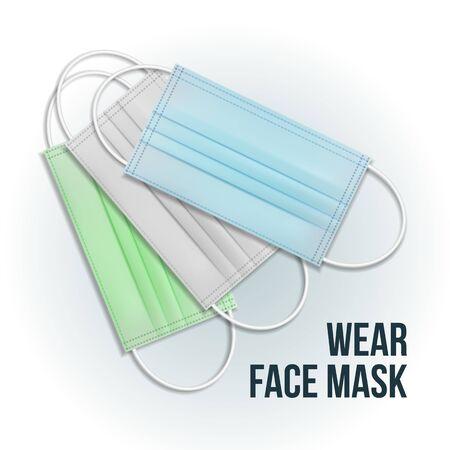 Medical mask. Protective face mask for breath safety. vector illustration