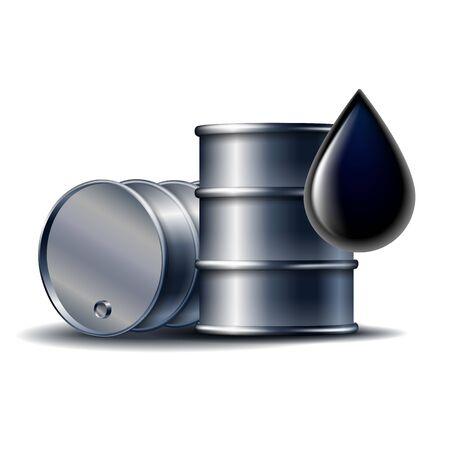 Black oil barrel with oil drop isolated on white Vektorgrafik