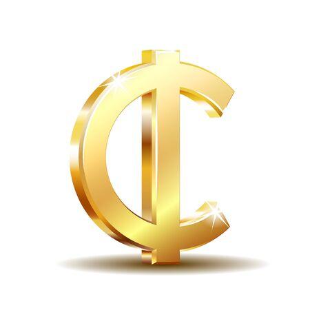 Ghana Cedi currency symbol, gold money sign, vector illustration