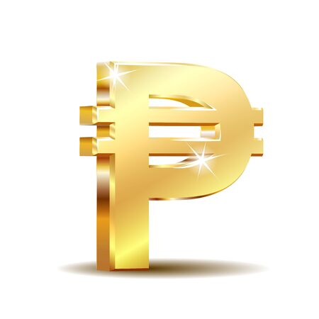 Philippine peso currency symbol, golden money sign