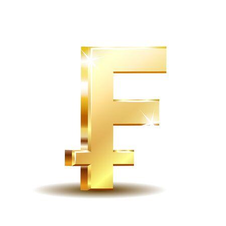 Swiss Franc currency shiny gold symbol. Switzerland sign.