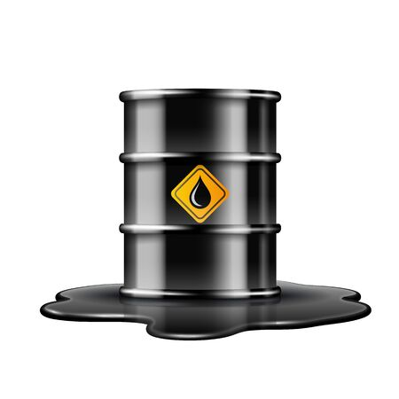 Black barrel with oil drop label on spilled puddle of crude oil.