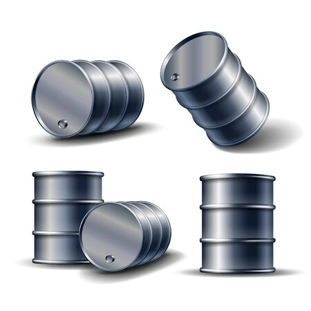 Set of Black metal oil barrel in different position isolated on white