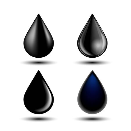 Set of different black drop, vector illustration