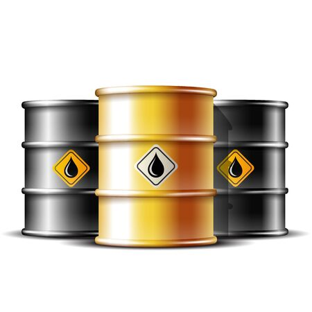 Black and gold barrels with oil drop label. Vector illustration