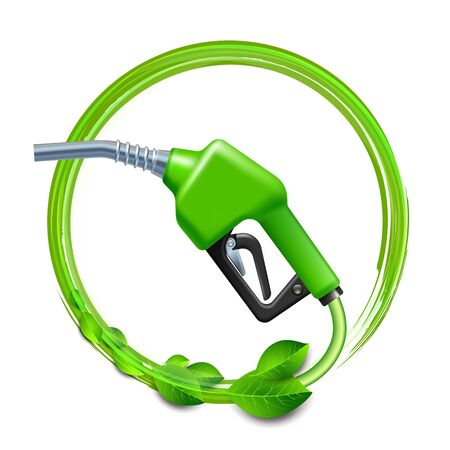 Green Fuel handle pump nozzle and hose with green leaves.