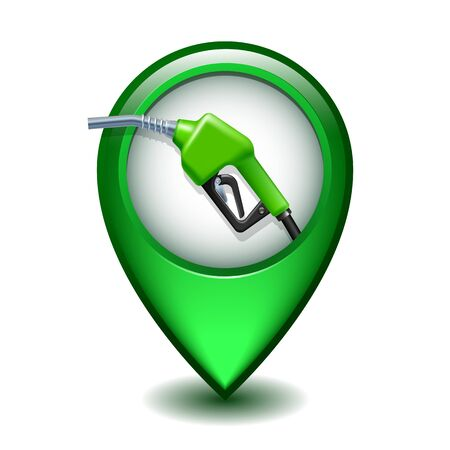 Green Glossy Map Pointer With Fuel handle pump nozzle and hose