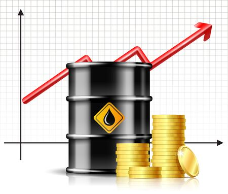 Oil barrel price rises chart and Black metal oil barrel with stack of gold coins.