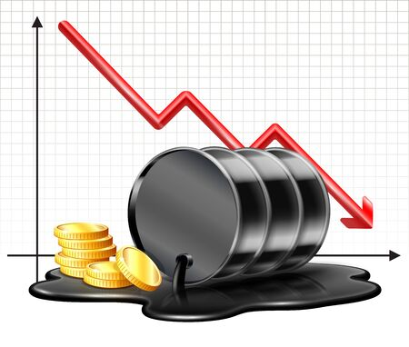 Oil barrel price falls down chart and Black oil barrel is lying in spilled puddle
