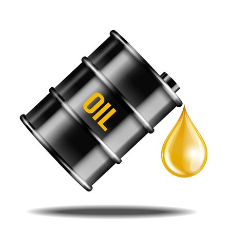 Black oil barrel with oil drop isolated on white