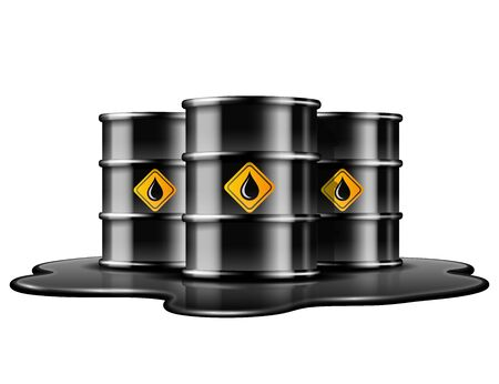Black barrels with oil drop label on spilled puddle of crude oil.  イラスト・ベクター素材