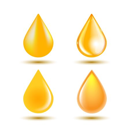 Drops of oil isolated on white background. Vector illustration
