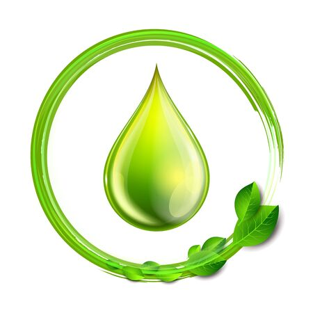 Green glossy drop with green leaves isolated on white background, environment conceptual design. Vector illustration of biodiesel droplet, petrol, oil, natural liquids symbol. Biofuel concept Vector Illustration