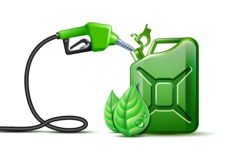 Biofuel. Gas pump nozzle and Green jerrycan with green leaves isolated on white background,