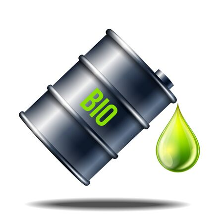 Barrel of biofuel with word BIO with oil drop isolated on white.