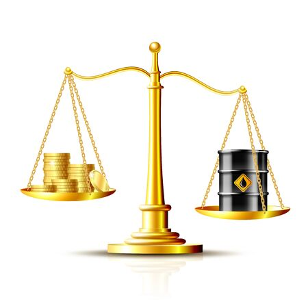 Classic scales with an oil barrel and gold coins, on white background