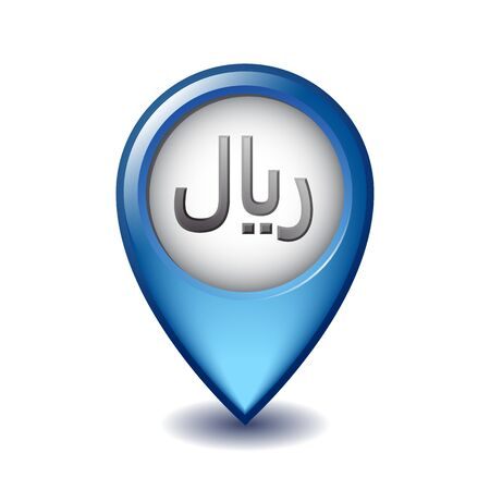 Rial symbol on Mapping Marker vector icon.