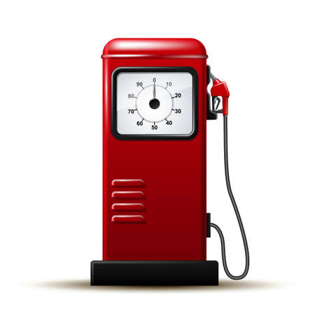 Red bright Gas station pump with fuel nozzle of petrol pump.