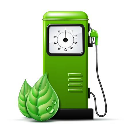 Green bright Gas station pump with fuel nozzle of petrol pump. Biofuel concept 일러스트