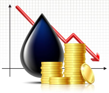 Oil barrel price falls down graphics and Black drop of oil with stack of gold coins 矢量图像