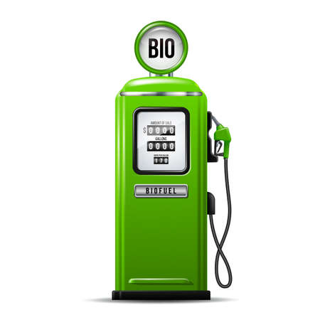 Green bright Gas station pump with fuel nozzle of petrol pump. Biofuel concept