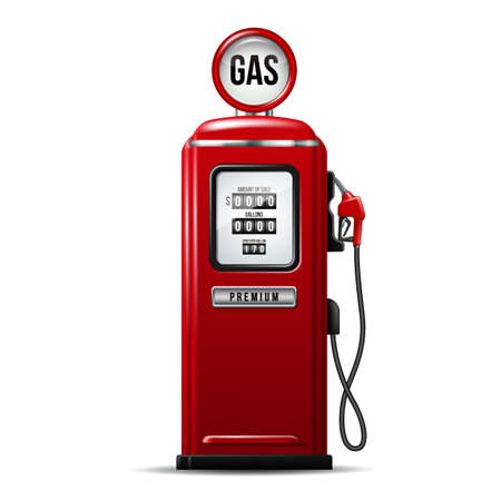 Red bright Gas station pump with fuel nozzle of petrol pump. Vecteurs