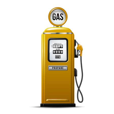 Yellow bright Gas station pump for liquid propane. Ilustração