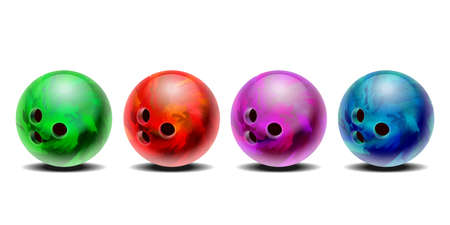 Realistic colorful 3D purple, blue, red , green bowling balls set. Ilustrace
